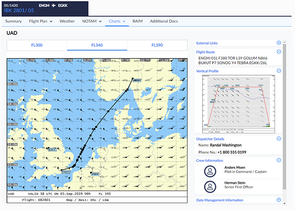 vNorwegian LiDo CB SimBrief - flight briefing uad charts